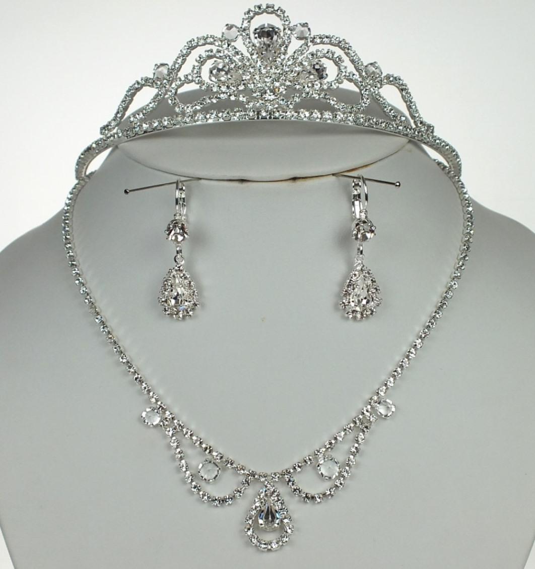Souprava svatební bižuterie - Náhrdelník + náušnice s klapkou + korunka do vlasů (Souprava svatební bižuterie - Náhrdelník + náušnice s klapkou + korunka do vlasů)