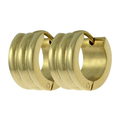 Náušnice kruhy zlatá barva chirurgická ocel OPN1430 (Ocelové náušnice kruhy v provedení zlatá)