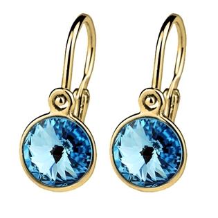 Zlaté dětské náušnice modré krystaly Swarovski žluté zlato AU 585/1000
