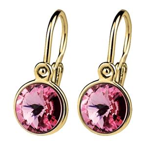 Zlaté dětské náušnice růžové krystaly Swarovski žluté zlato AU 585/1000