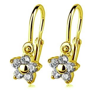 Zlaté dětské náušnice kytička krystaly Swarovski žluté zlato AU 585/1000