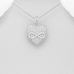Stříbrný přívěšek srdce se zirkony nekonečno Ag 925/1000 POŠTOVNÉ ZDARMA