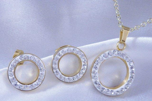 Souprava náušnice, náhrdelník kolečko s kamínky zlacená chirurgická ocel