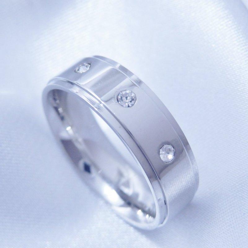 Prsten široký kroužek zirkon chirurgická ocel POŠTOVNÉ ZDARMA