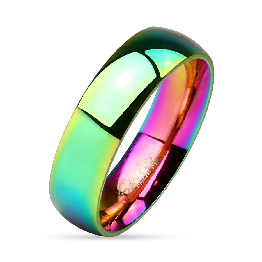 Prsten duhový 6 mm chirurgická ocel