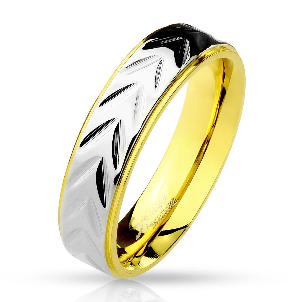 Prsten zlacený 5 mm chirurgická ocel