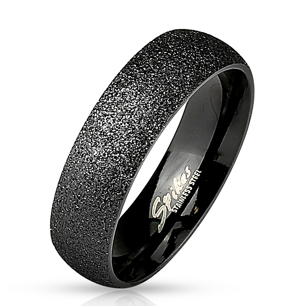 Prsten černý pískovaný 6 mm chirurgická ocel