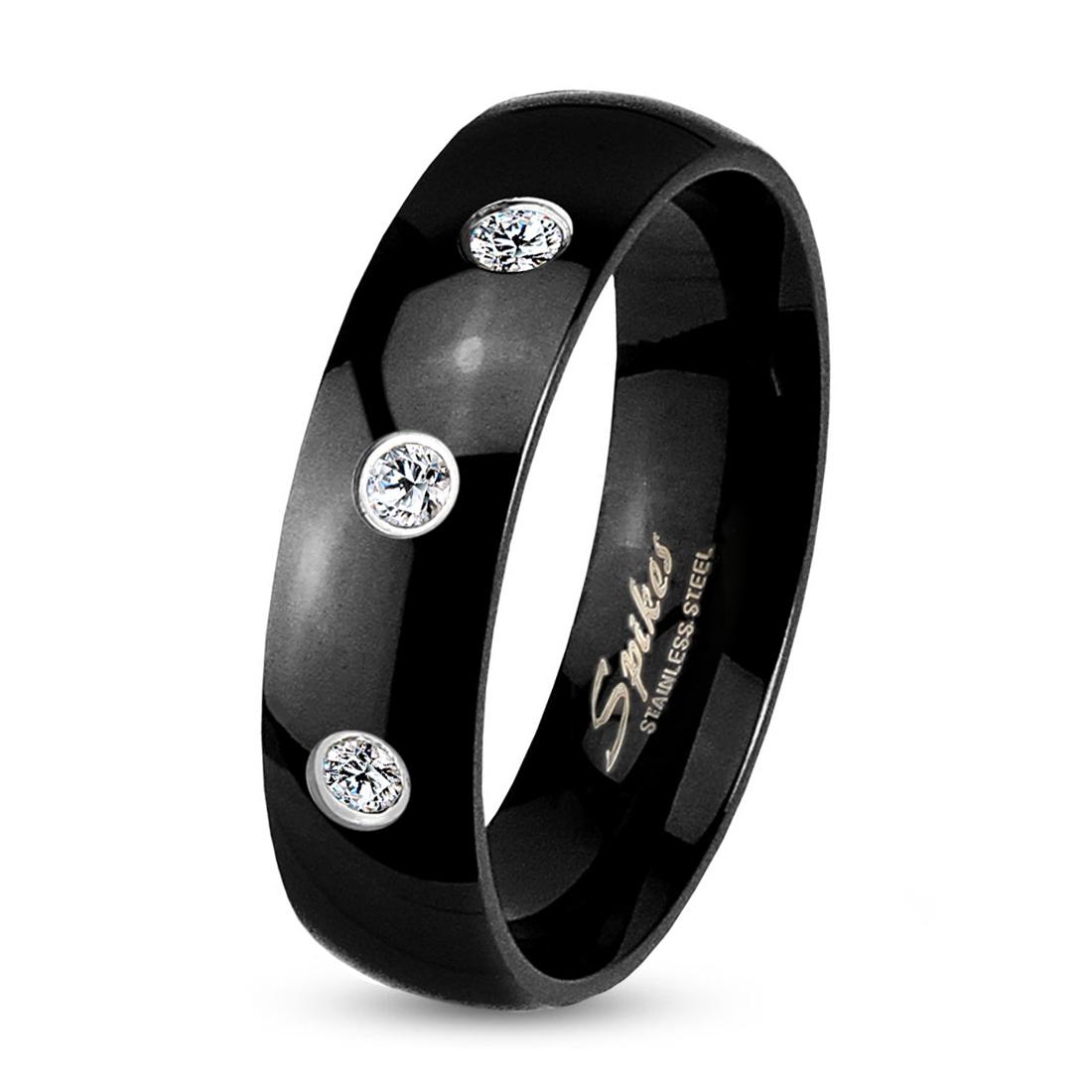 Prsten černý 6 mm zirkony chirurgická ocel
