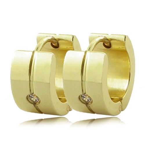 Náušnice kruhy s kamínky zlatá barva chirurgická ocel OPN1449