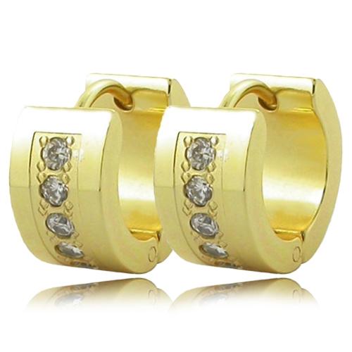 Náušnice kruhy s kamínky zlatá barva chirurgická ocel OPN1448