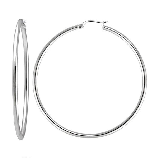 Náušnice kruhy 45 mm chirurgická ocel OPN1357 (Ocelové náušnice hladké kruhy o průměru 45 mm)