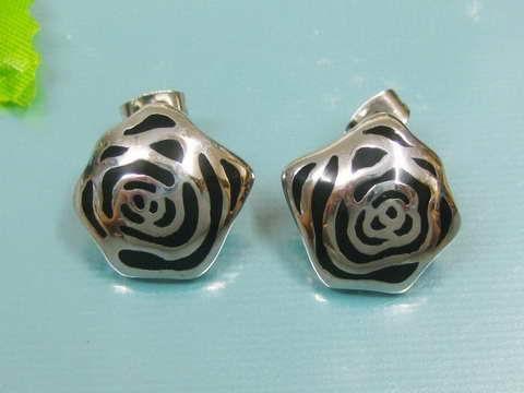 Náušnice pecky růže chirurgická ocel OPN1327 (Ocelové náušnice pecky růže v černé barvě)